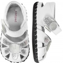 ~NEW~ Pediped Originals for Girls  - Daisy White Silver Sandal