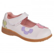 Pediped Flex for Girls - Abigail White with Multi-Color Flowers Mary Jane